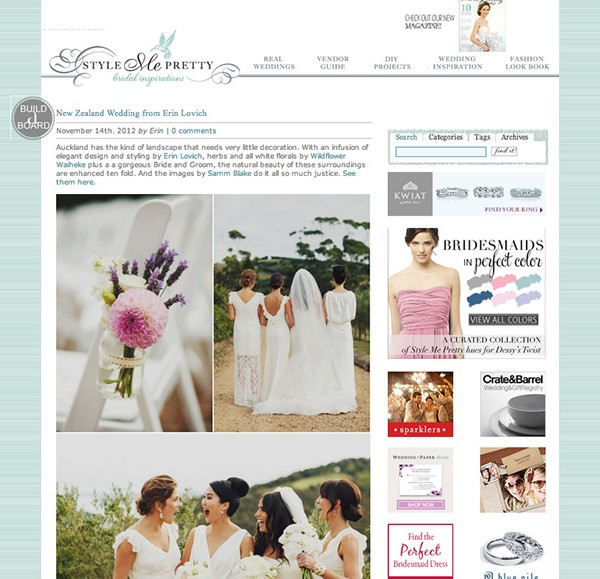 FEATURED ON STYLE ME PRETTY {ERIN & SCOTT - WAIHEKE ISLAND, NEW ZEALAND)